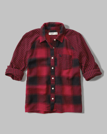 kids mixed plaid raglan shirt