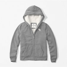 girls sherpa lined full-zip hoodie