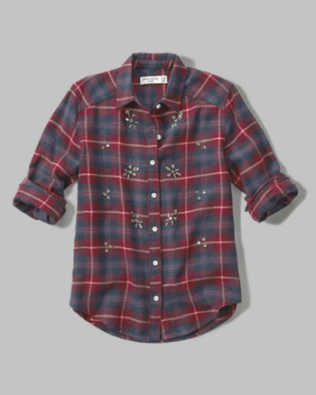 kids embellished plaid flannel shirt