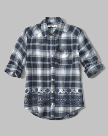 kids embroidered plaid flannel shirt