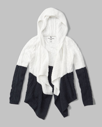 kids cable-knit hooded cardigan