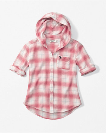 kids hooded plaid flannel shirt