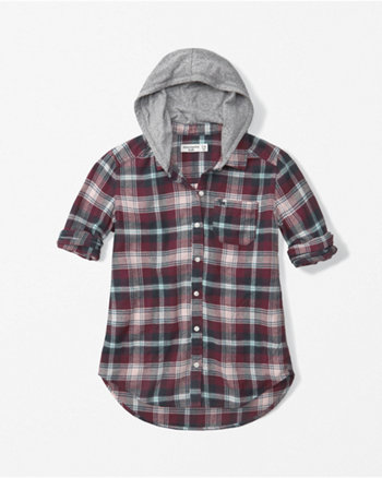 kids hooded plaid tunic shirt