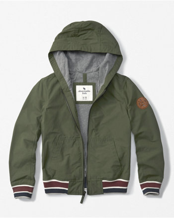 kids hooded zip-up bomber