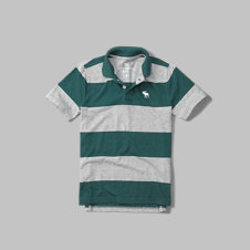 girls striped logo polo