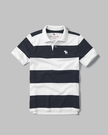 kids striped logo polo