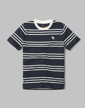kids striped icon crew tee