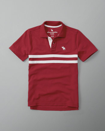 kids chest stripe logo polo