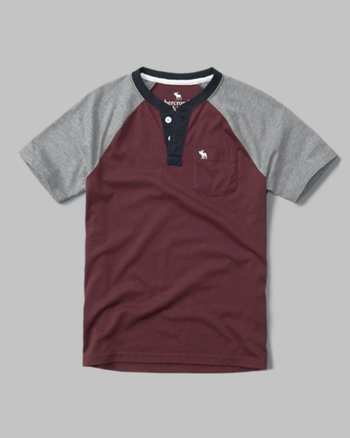 kids color block pocket henley