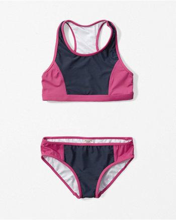 kids color block two-piece swimsuit