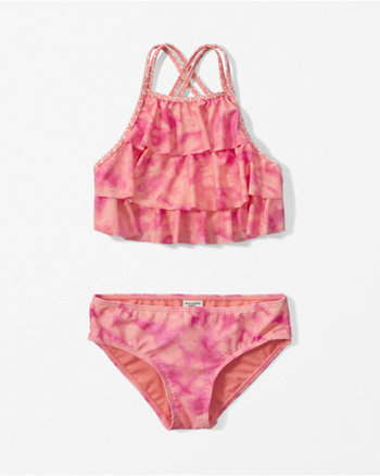kids tiered ruffle two-piece swimsuit