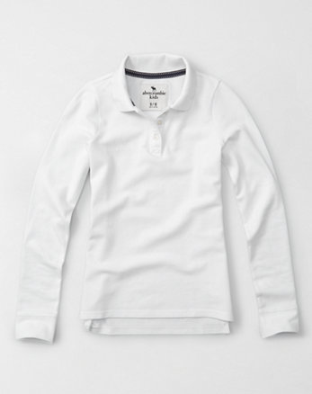 kids solid long-sleeve polo