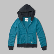 girls color block french terry full-zip