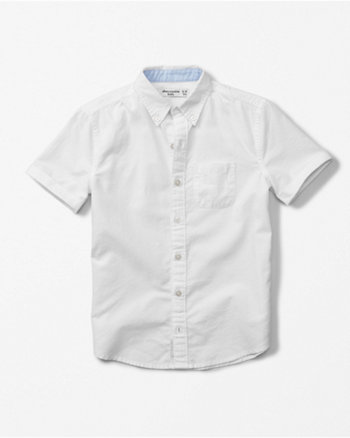 kids short sleeve solid oxford shirt
