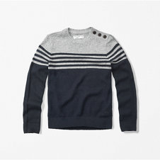 girls button-accent crew sweater