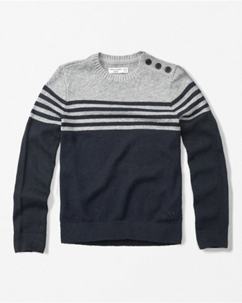 kids button-shoulder crew neck sweater