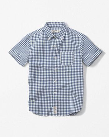 short-sleeve pattern poplin shirt