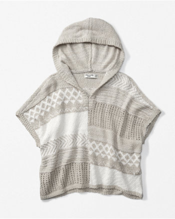 kids patterned hooded poncho sweater