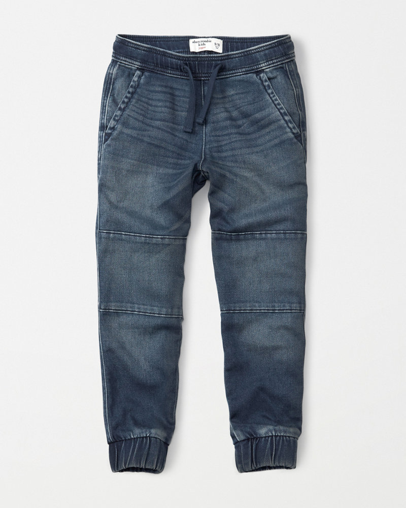 Boys denim joggers | boys bottoms | Abercrombie.com