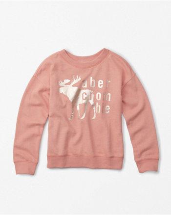 kids shine graphic crew neck sweatshirt