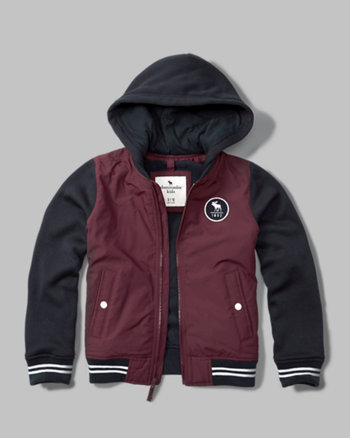 kids varsity hooded twofer jacket
