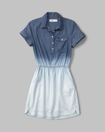 kids dip-dye chambray shirt dress