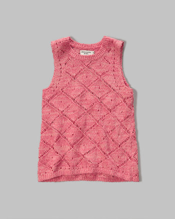 kids open stitch sweater tank