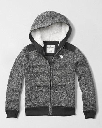 kids sherpa lined full-zip hoodie