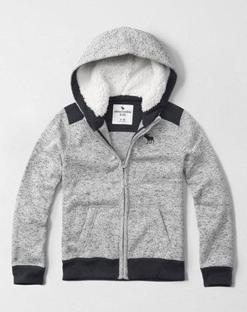 kids sherpa lined zip-up hoodie