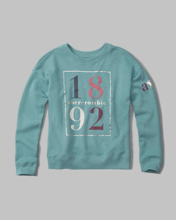 kids shine logo crew neck sweatshirt