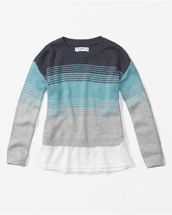 kids chiffon hem pullover sweater