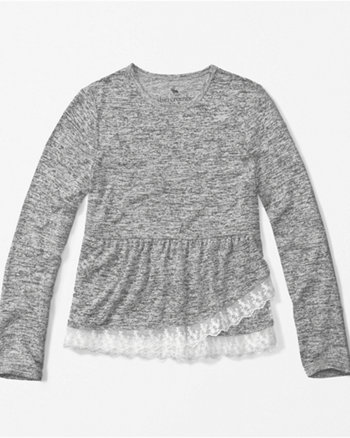 kids lace peplum long-sleeve tee