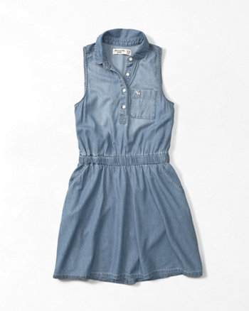 kids chambray sleeveless shirt dress