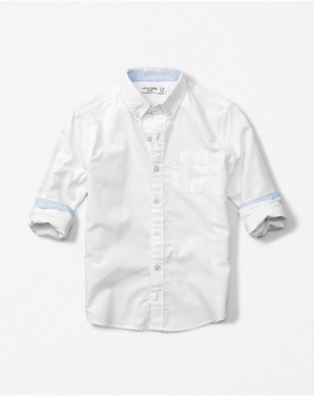 kids long sleeve solid oxford shirt