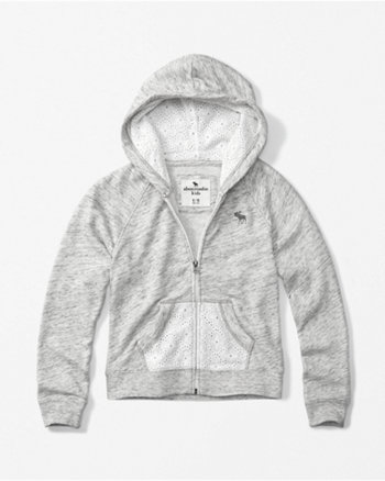 kids lace pocket zip-up hoodie