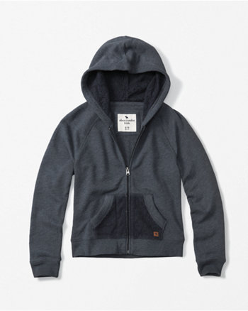 kids lace pocket zip-up hoodie