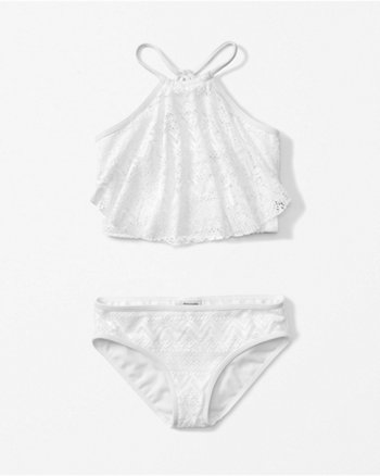 kids ruffle high neck two-piece swimsuit