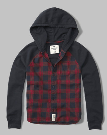 flannel-front hoodie