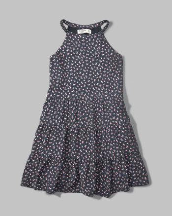 kids tiered high neck dress