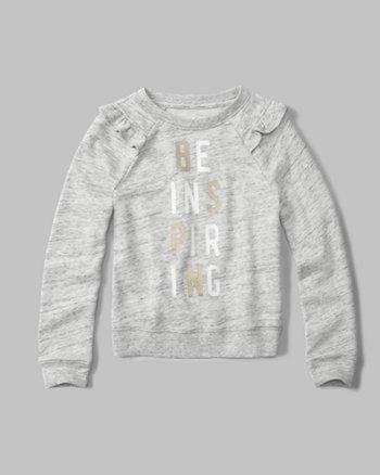 kids ruffle-sleeve crew neck sweatshirt