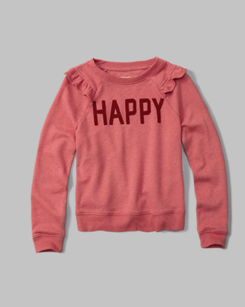 kids ruffle-sleeve crew neck sweatshirt