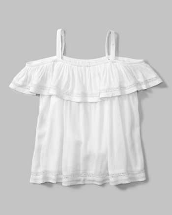kids lace-trim cold shoulder top