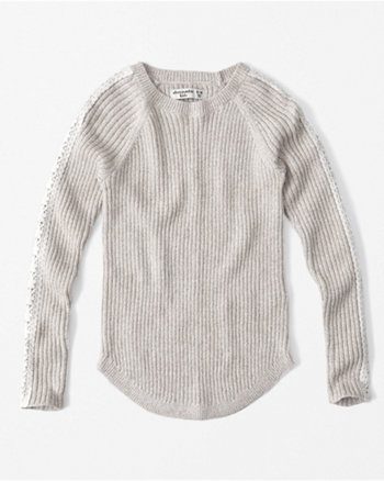 kids lace sleeve sweater